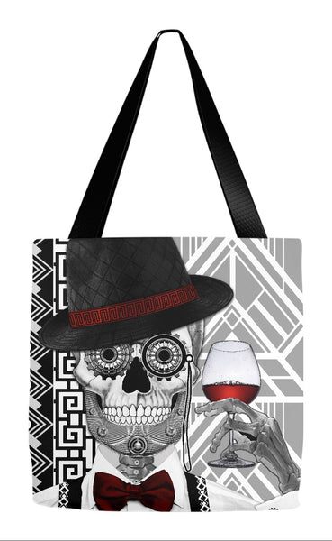 1920s Black and White Sugar Skull Tote Bag - Mr JD Vanderbone - Tote Bag - Fusion Idol Arts - New Mexico Artist Christopher Beikmann