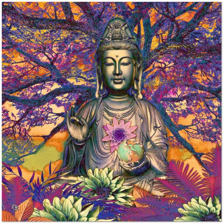 Healing Nature - Kwan Yin Buddha Goddess Canvas Art Print - Premium Canvas Gallery Wrap - Fusion Idol Arts - New Mexico Artist Christopher Beikmann