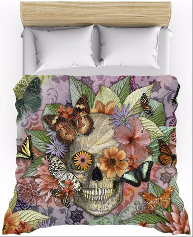 Butterfly Sugar Skull Floral Duvet Cover - Butterfly Botaniskull - Duvet Cover - Fusion Idol Arts - New Mexico Artist Christopher Beikmann