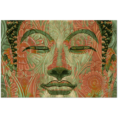 Green and Orange Buddha Face Art Canvas - Manifestation of Mind - Premium Canvas Gallery Wrap - Fusion Idol Arts - New Mexico Artist Christopher Beikmann