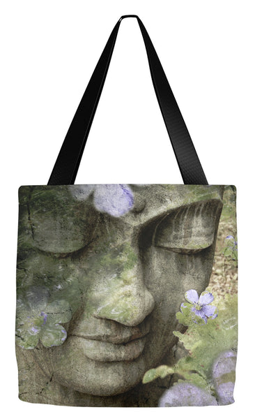 Sage Green Zen Buddha Art Tote Bag - Inner Tranquility - Tote Bag - Fusion Idol Arts - New Mexico Artist Christopher Beikmann