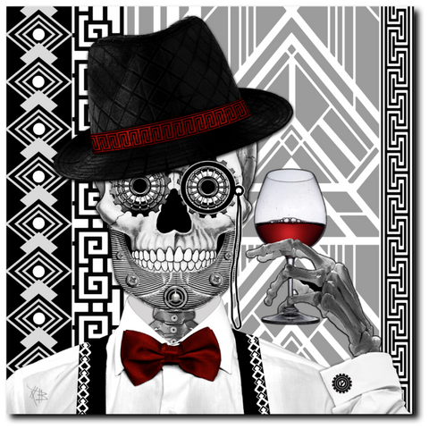 1920's Day of the Dead Sugar Skull Canvas Prints - Mr JD Vanderbone - Premium Canvas Gallery Wrap - Fusion Idol Arts - New Mexico Artist Christopher Beikmann