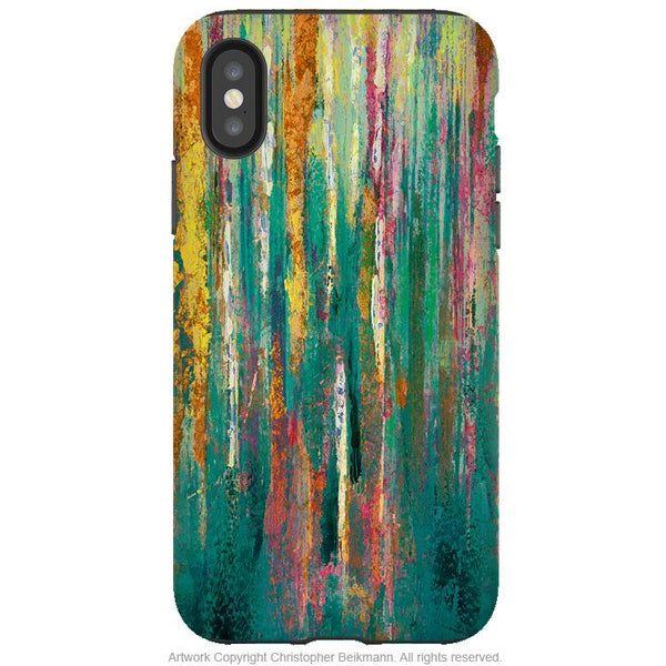 Green Abstractus - iPhone X / XS / XS Max / XR Tough Case - Dual Layer Protection for Apple iPhone 10 - Teal and Orange Abstract Art Case - iPhone X Tough Case - Fusion Idol Arts - New Mexico Artist Christopher Beikmann