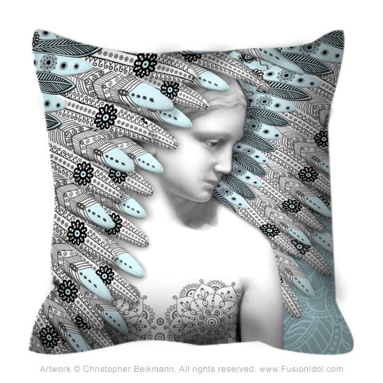 Blue Paisley Angel Throw Pillow - Angel of Winter - Throw Pillow - Fusion Idol Arts - New Mexico Artist Christopher Beikmann