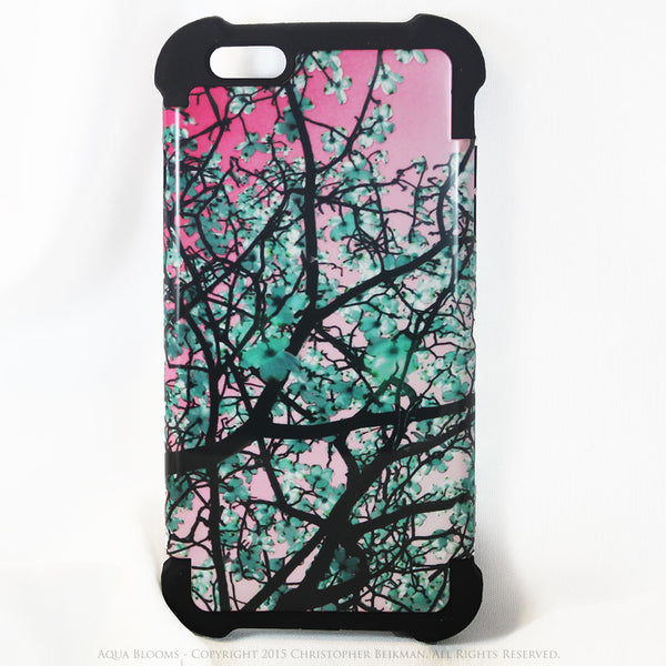 Pink and Turquoise Floral iPhone 6 Plus - 6s Plus Case - Aqua Blooms - Tree Blossom iPhone 6 Plus SUPER BUMPER Case - iPhone 6 6s Plus SUPER BUMPER Case - Fusion Idol Arts - New Mexico Artist Christopher Beikmann