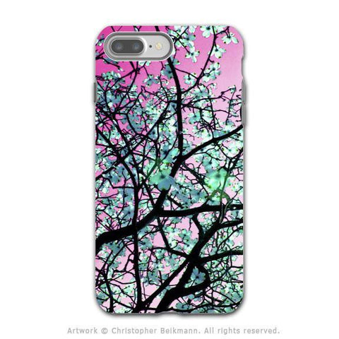 Pink Tree Blossoms - Artistic iPhone 8 PLUS Tough Case - Dual Layer Protection - Aqua Blooms - iPhone 8 Plus Tough Case - Fusion Idol Arts - New Mexico Artist Christopher Beikmann