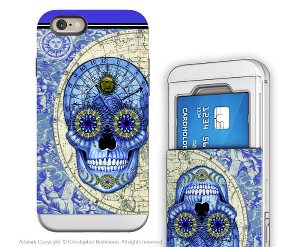 Astrology Skull iPhone 6 6s Cardholder Case - Astrologiskull - Steampunk Skull Card Holder Wallet Case for iPhone 6s - iPhone 6 6s Card Holder Case - Fusion Idol Arts - New Mexico Artist Christopher Beikmann