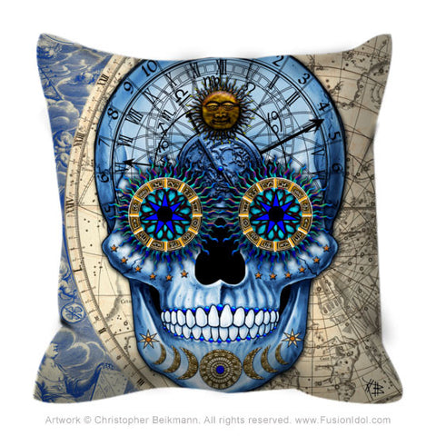 Astrological Skull Throw Pillow - Astrologiskull - Throw Pillow - Fusion Idol Arts - New Mexico Artist Christopher Beikmann