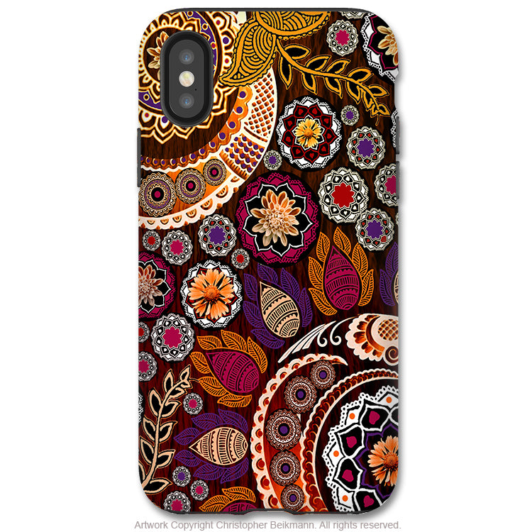 Autumn Mehndi - iPhone X / Xs / Xs Max / XR Tough Case - Dual Layer Protection for Apple iPhone 10 - Fall Paisley Art Case - iPhone X Tough Case - Fusion Idol Arts - New Mexico Artist Christopher Beikmann
