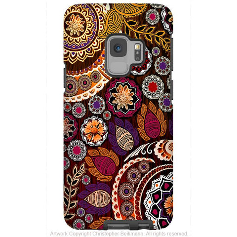 Autumn Mehndi - Galaxy S9 / S9 Plus / Note 9 Tough Case - Dual Layer Protection for Samsung S9 - Fall Paisley Art Case - Galaxy S9 / S9+ / Note 9 - Fusion Idol Arts - New Mexico Artist Christopher Beikmann