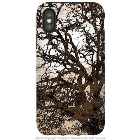Autumn Moonlit Night - iPhone X Tough Case - Dual Layer Protection for Apple iPhone 10 - Tan Tree Abstract Art Case - iPhone X Tough Case - Fusion Idol Arts - New Mexico Artist Christopher Beikmann