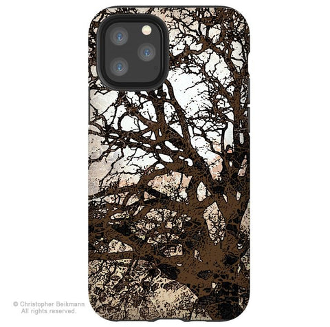 Autumn Moonlit Night - iPhone 11 / 11 Pro / 11 Pro Max Tough Case - Dual Layer Protection for Apple iPhone XI - Brown Tree Art Case - iPhone 11 Tough Case - Fusion Idol Arts - New Mexico Artist Christopher Beikmann