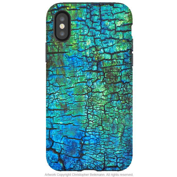 Azul Crust - iPhone X / XS / XS Max / XR Tough Case - Dual Layer Protection for Apple iPhone 10 - Blue Abstract Art Case - iPhone X Tough Case - Fusion Idol Arts - New Mexico Artist Christopher Beikmann