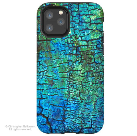Azul Crust - iPhone 11 / 11 Pro / 11 Pro Max Tough Case - Dual Layer Protection for Apple iPhone XI - Blue and Green Abstract Art Case - iPhone 11 Tough Case - Fusion Idol Arts - New Mexico Artist Christopher Beikmann