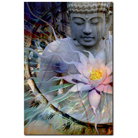 Buddha with Lotus - Canvas Print - Zen Meditation Art - Living Radiance, Premium Canvas Gallery Wrap - Christopher Beikmann