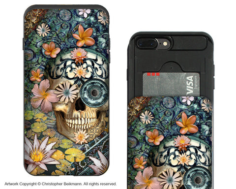 Bali Botaniskull iPhone 7 Plus Card Holder Case - Sugar Skull Wallet Case for Apple iPhone 7 Plus - iPhone 7 Plus Card Holder Case - Fusion Idol Arts - New Mexico Artist Christopher Beikmann