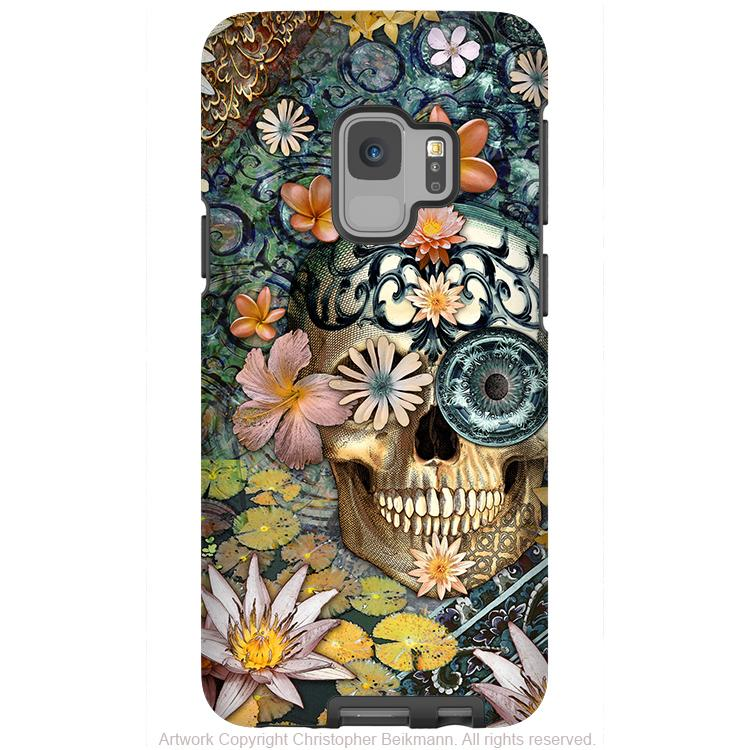 Floral Sugar Skull - Galaxy S9 / S9 Plus / Note 9 Tough Case - Dual Layer Protection - Galaxy S9 / S9+ / Note 9 - Fusion Idol Arts - New Mexico Artist Christopher Beikmann