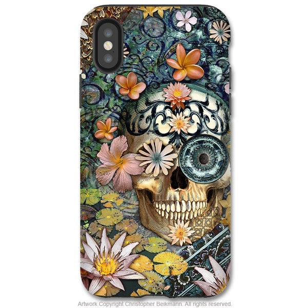 Bali Botaniskull - iPhone X Tough Case - Dual Layer Protection for Apple iPhone 10 - Botanical Sugar Skull Art Case - iPhone X Tough Case - Fusion Idol Arts - New Mexico Artist Christopher Beikmann