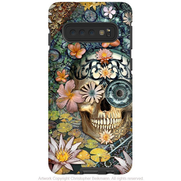 Bali Botaniskull - Galaxy S10 / S10 Plus / S10E Tough Case - Dual Layer Protection - Green Floral Sugar Skull Case - Galaxy S10 / S10+ / S10E - Fusion Idol Arts - New Mexico Artist Christopher Beikmann