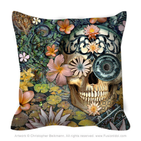 Floral Skull Throw Pillow - Bali Botaniskull - Fusion Idol - Art and Gifts by Artist Christopher Beikmann