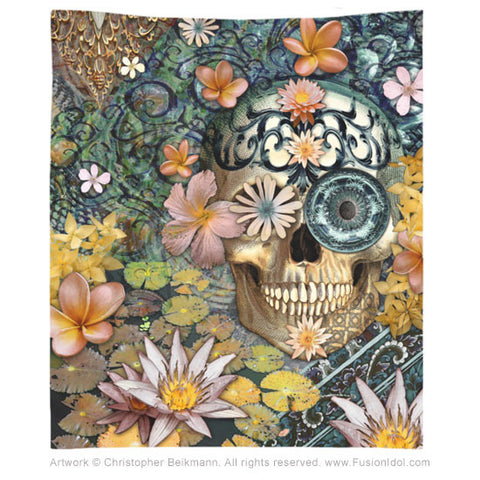 Bali Botaniskull Tapestry - Tapestry - Fusion Idol Arts - New Mexico Artist Christopher Beikmann