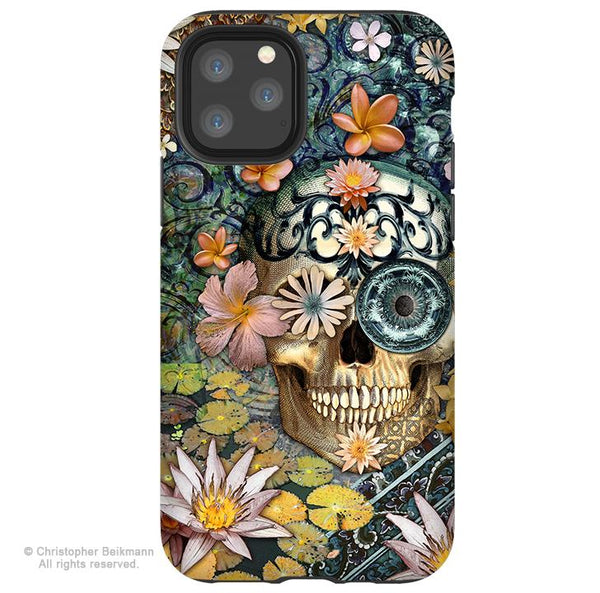 Bali Botaniskull - iPhone 11 / 11 Pro / 11 Pro Max Tough Case - Dual Layer Protection for Apple iPhone XI - Floral Sugar Skull Case - iPhone 11 Tough Case - Fusion Idol Arts - New Mexico Artist Christopher Beikmann