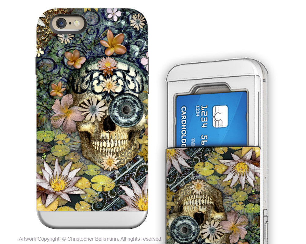 Floral Sugar Skull iPhone 6 6s Cardholder Case - Bali Botaniskull - Day of the Dead Credit Card Holder Wallet Case for iPhone 6s - iPhone 6 6s Card Holder Case - Fusion Idol Arts - New Mexico Artist Christopher Beikmann