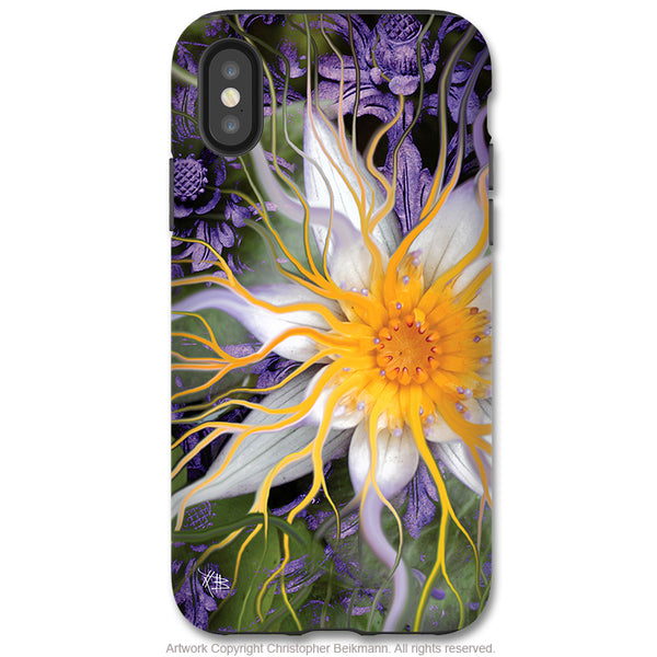 Bali Dream Flower - iPhone X / XS / XS Max / XR Tough Case - Dual Layer Protection for Apple iPhone 10 - Purple and Green Lotus Flower Case - iPhone X Tough Case - Fusion Idol Arts - New Mexico Artist Christopher Beikmann