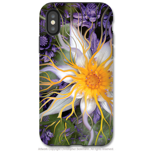 Bali Dream Flower - iPhone X Tough Case - Dual Layer Protection for Apple iPhone 10 - Purple and Green Lotus Flower Case - iPhone X Tough Case - Fusion Idol Arts - New Mexico Artist Christopher Beikmann