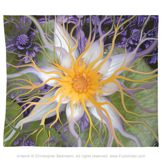 Bali Dream Flower Tapestry Abstract Purple And Green Floral Lotus