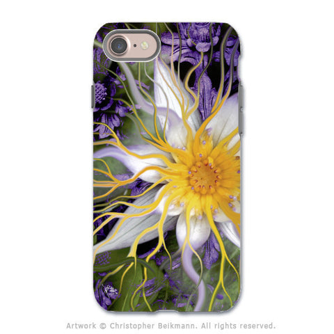 Purple Lotus Flower - Artistic iPhone 8 Tough Case - Dual Layer Protection - Bali Dream Flower - iPhone 8 Tough Case - Fusion Idol Arts - New Mexico Artist Christopher Beikmann
