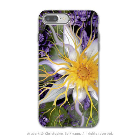 Purple Lotus Flower - Artistic iPhone 8 PLUS Tough Case - Dual Layer Protection - Bali Dream Flower - iPhone 8 Plus Tough Case - Fusion Idol Arts - New Mexico Artist Christopher Beikmann