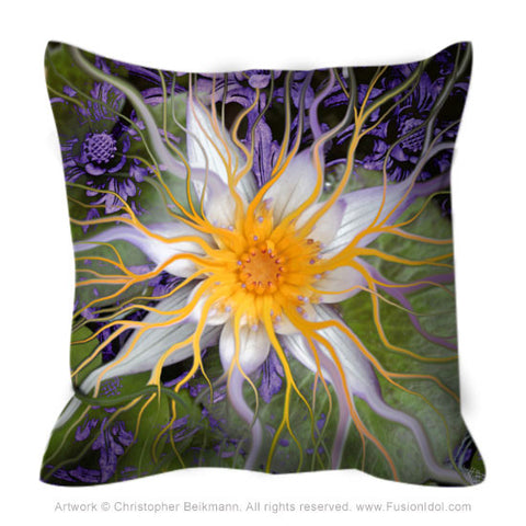 Purple and Green Lotus Flower Throw Pillow - Bali Dream Flower - Throw Pillow - Fusion Idol Arts - New Mexico Artist Christopher Beikmann