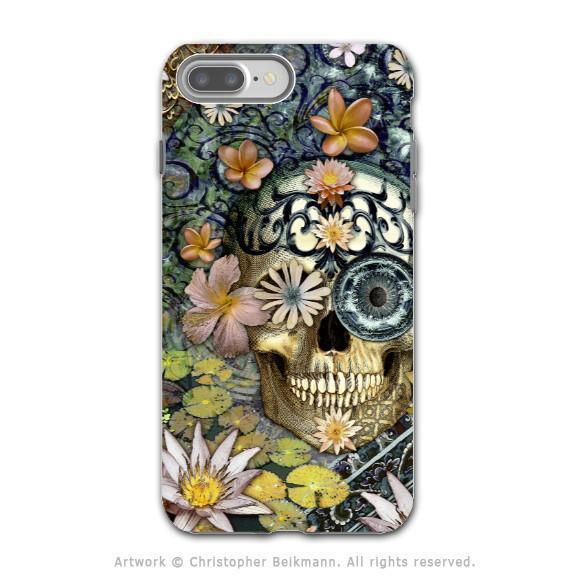 Floral Sugar Skull - Artistic iPhone 8 PLUS Tough Case - Dual Layer Protection - Bali Botaniskull - iPhone 8 Plus Tough Case - Fusion Idol Arts - New Mexico Artist Christopher Beikmann