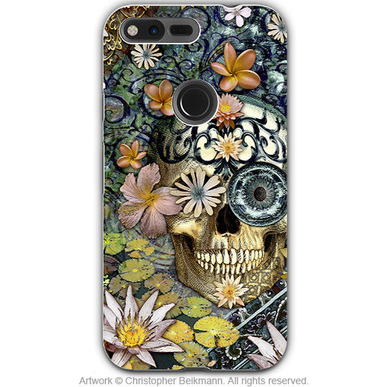 Floral Sugar Skull - Artistic Google Pixel Tough Case - Dual Layer Protection - Bali Botaniskull - Google Pixel Tough Case - Fusion Idol Arts - New Mexico Artist Christopher Beikmann