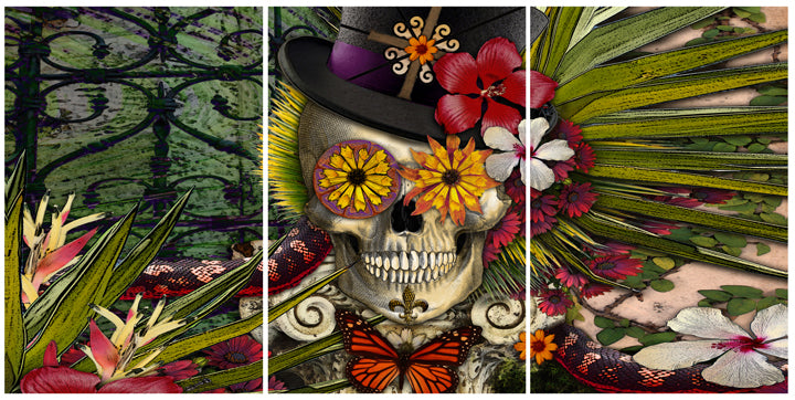 Baron in Bloom - Botaniskull - 60x30 Metal Triptych Set - Metal Print - Fusion Idol Arts - New Mexico Artist Christopher Beikmann