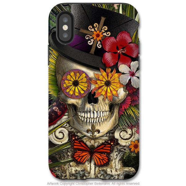 Baron in Bloom - iPhone X / XS / XS Max / XR Tough Case - Dual Layer Protection for Apple iPhone 10 - New Orleans Voodoo Sugar Skull Case - iPhone X Tough Case - Fusion Idol Arts - New Mexico Artist Christopher Beikmann
