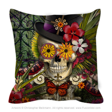 Baron In Bloom Throw Pillow - New Orleans Inspired Floral Skull Pillow - Fusion Idol - Art and Gifts by Artist Christopher Beikmann