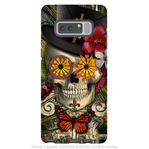 New Orleans Sugar Skull Galaxy Note 8 Case - Baron in Bloom - Voodoo Sugar Skull Note 8 Tough Case - Galaxy Note 8 Tough Case - Fusion Idol Arts - New Mexico Artist Christopher Beikmann