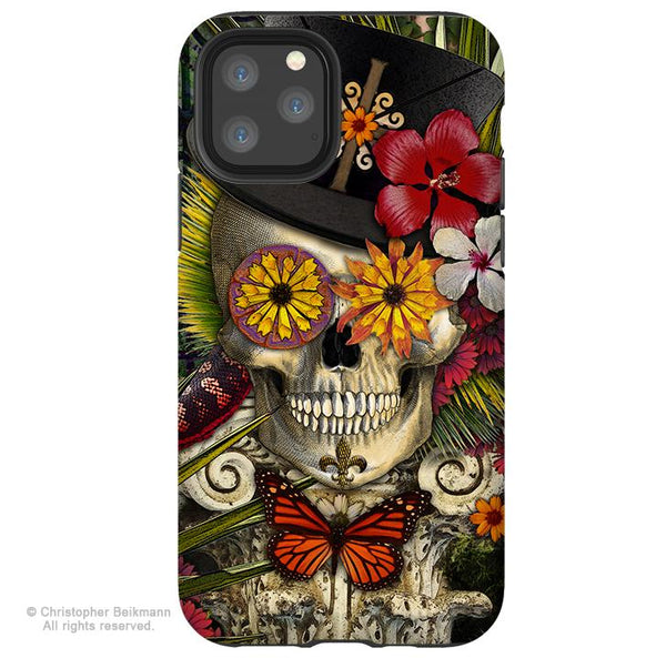 Baron in Bloom - iPhone 11 / 11 Pro / 11 Pro Max Tough Case - Dual Layer Protection for Apple iPhone XI - New Orleans Voodoo Sugar Skull Case - iPhone 11 Tough Case - Fusion Idol Arts - New Mexico Artist Christopher Beikmann