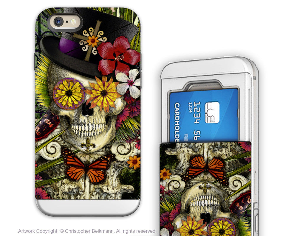 New Orleans Baron - Artistic iPhone 6 6s Case - Cardholder Case - baron in bloom botaniskull - iPhone 6 6s Card Holder Case - Fusion Idol Arts - New Mexico Artist Christopher Beikmann