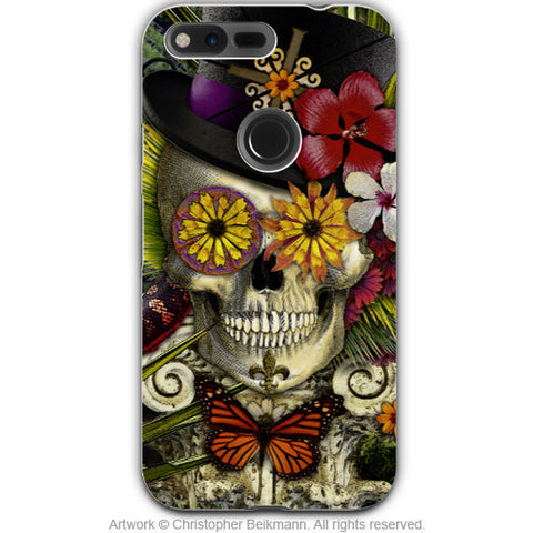 New Orleans Baron Samedi - Dia De Los Muertos - Google Pixel Tough Case - baron in bloom voodoo art - Google Pixel Tough Case - Fusion Idol Arts - New Mexico Artist Christopher Beikmann