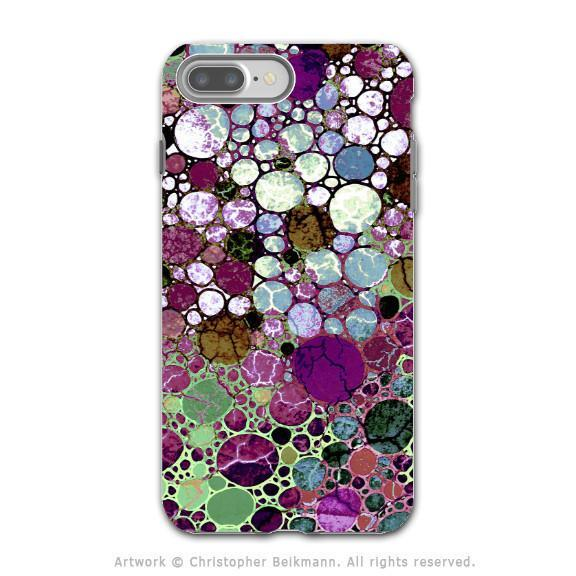 Burgundy Bubble Abstract - Artistic iPhone 8 PLUS Tough Case - Dual Layer Protection - Berry Bubbles - iPhone 8 Plus Tough Case - Fusion Idol Arts - New Mexico Artist Christopher Beikmann