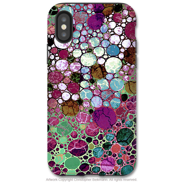Berry Bubbles - iPhone X Tough Case - Dual Layer Protection for Apple iPhone 10 - Burgundy Abstract Art Case - iPhone X Tough Case - Fusion Idol Arts - New Mexico Artist Christopher Beikmann