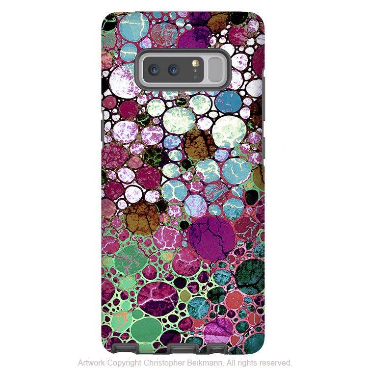 Burgundy Abstract Galaxy Note 8 Case - Artistic Case for Samsung Galaxy Note 8 - Berry Bubbles - Galaxy Note 8 Tough Case - Fusion Idol Arts - New Mexico Artist Christopher Beikmann