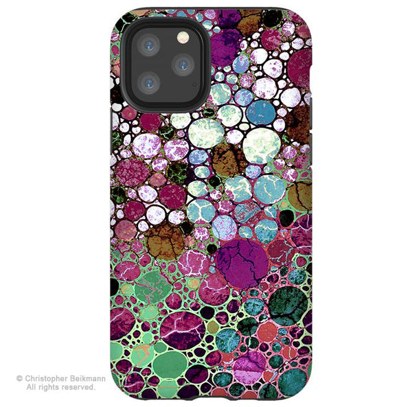 Berry Bubbles - iPhone 11 / 11 Pro / 11 Pro Max Tough Case - Dual Layer Protection for Apple iPhone XI - Burgundy Abstract Art Case - iPhone 11 Tough Case - Fusion Idol Arts - New Mexico Artist Christopher Beikmann