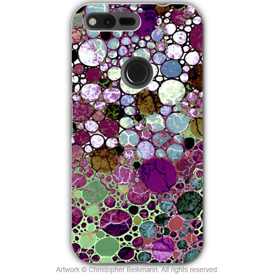 Burgundy Bubble Abstract - Artistic Google Pixel Tough Case - Dual Layer Protection - berry bubbles - Google Pixel Tough Case - Fusion Idol Arts - New Mexico Artist Christopher Beikmann