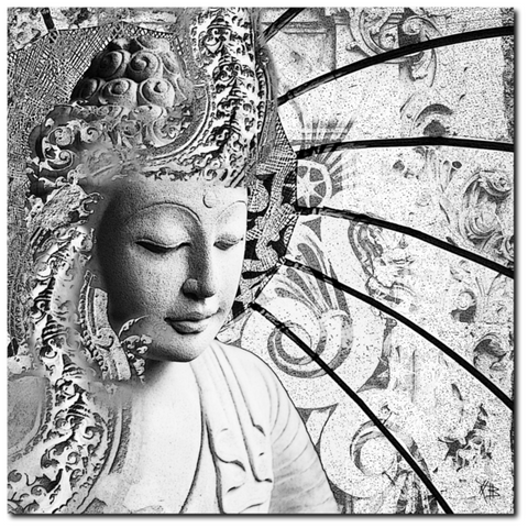 Black and White Zen Buddha Canvas Art - Bliss of Being, Premium Canvas Gallery Wrap - Christopher Beikmann