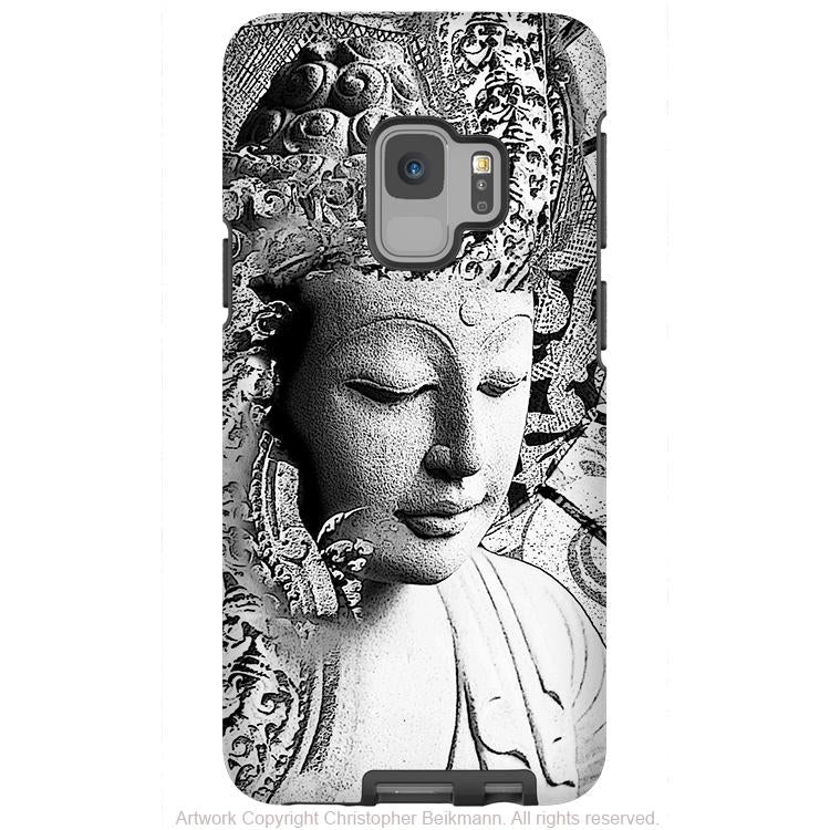 Bliss of Being - Black and White Buddha - Galaxy S9 / S9 Plus / Note 9 Tough Case - Dual Layer Protection for Samsung S9 - Galaxy S9 / S9+ / Note 9 - Fusion Idol Arts - New Mexico Artist Christopher Beikmann