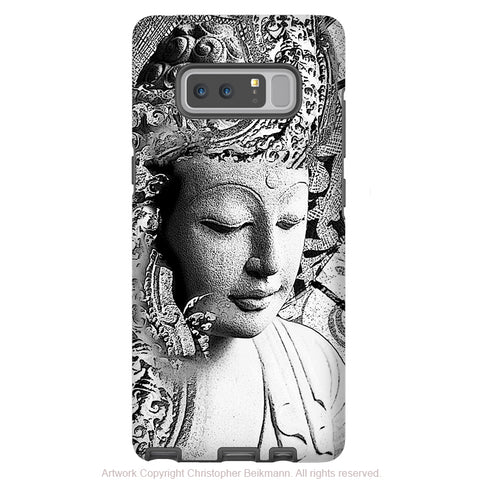 Black and White Buddha Galaxy Note 8 Tough Case - Dual Layer Zen Case for Samsung Galaxy Note 8 - Bliss of Being - Galaxy Note 8 Tough Case - Fusion Idol Arts - New Mexico Artist Christopher Beikmann
